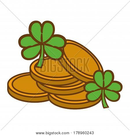 metal coins with clovers plant, vector illustration design