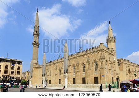 CAIRO, EGYPT - SEPTEMBER 14 2016:  Al-Hussein Mosque on September 14, 2016 in Cairo, Egypt. The Mosque built in 1154 and one of the holiest buildings in the Capital City.