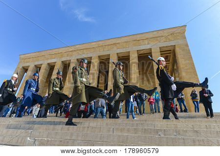 Ankara, Turkey - March 27, 2017: Guard shift ceremony  in Mausoleum of Ataturk - Ankara, Turkey