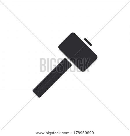 Wooden mallet hammer icon vector filled flat sign solid pictogram isolated on white. Symbol logo illustration