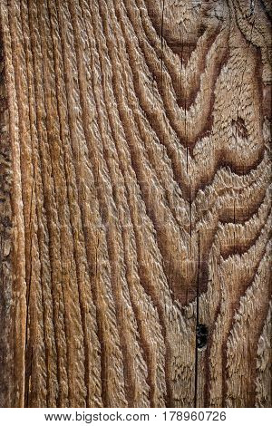 Wood plank board background with wooden curve grain pattern texture as old dry vintage closeup knotted architecture concept