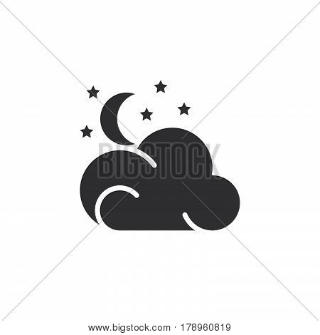 Moon stars cloud icon vector filled flat sign solid pictogram isolated on white. Partly cloudy night weather forecast symbol logo illustration