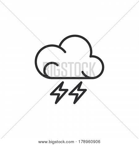 Lightning line icon outline vector sign linear pictogram isolated on white. Thunderstorm weather forecast symbol logo illustration