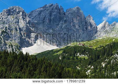 Austrian mountain landscape. View of Kaiser Mountains. Austria Tyrol Wilder Kaiser Gruttenhuette