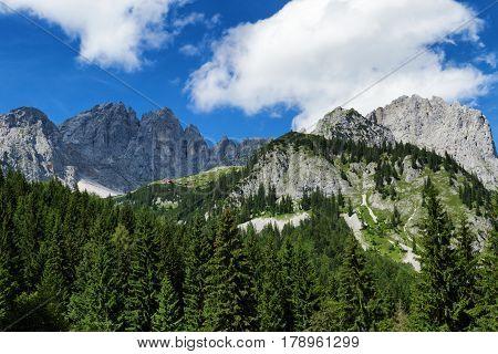 Amazing mountains scenic in the Alps. Austrian travel destination Kaiser Mountains Wilder Kaiser chain Tyrol
