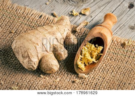 Fresh Ginger Root On Burlap Fabric