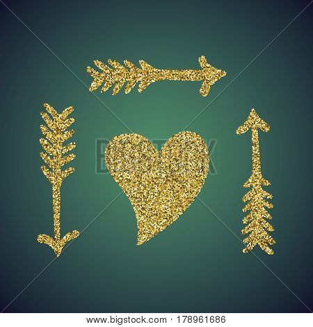 A glamour brilliant jewelry gold glitter in the form of a hand drawn love heart arrow symbol. Elegant decoration of gold round sequins. A small scattering of gold circles in the heart shape