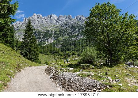 Summer mountains landscape. Hiking in the Alps Kaiser Mountains Austria Tyrol