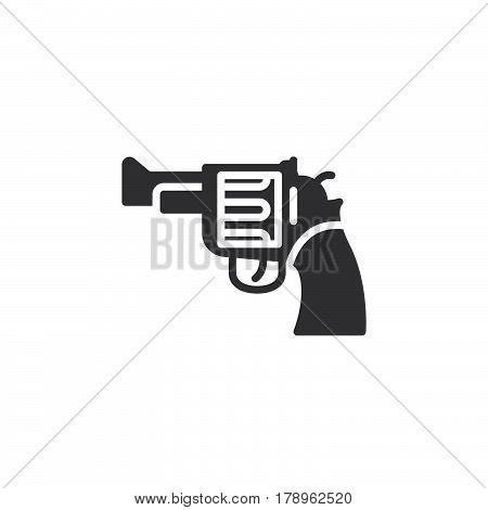 Gun revolver icon vector filled flat sign solid pictogram isolated on white. Symbol logo illustration