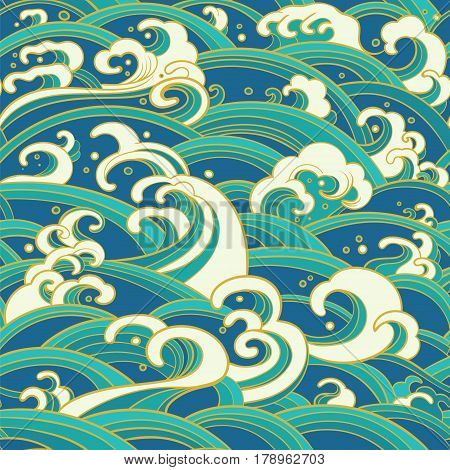 Traditional oriental seamless pattern with ocean waves foam splashes. Vector backdrop