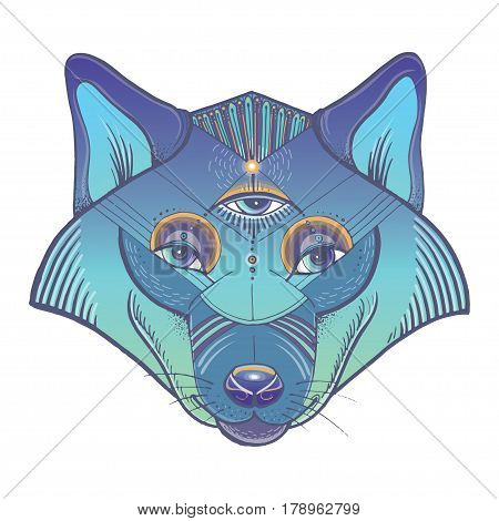Vector illustration of wolf's head. Vector poster with wolf in geometric style.