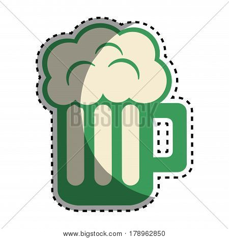 tasty beer with froth celebration, vector illustration design