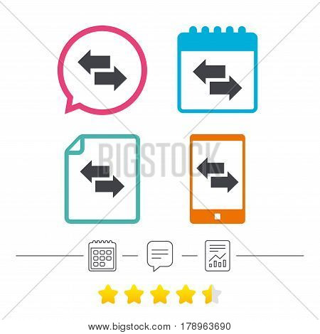 Incoming and outgoing calls sign. Upload. Download arrow symbol. Calendar, chat speech bubble and report linear icons. Star vote ranking. Vector