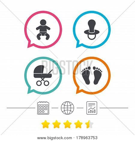 Baby infants icons. Toddler boy with diapers symbol. Buggy and dummy signs. Child pacifier and pram stroller. Child footprint step sign. Calendar, internet globe and report linear icons. Vector