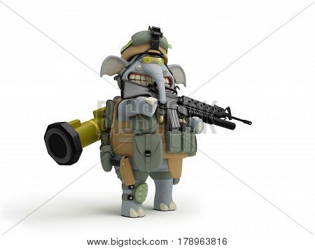 Cartoon elephant infantryman with a rifle and a grenade launcher