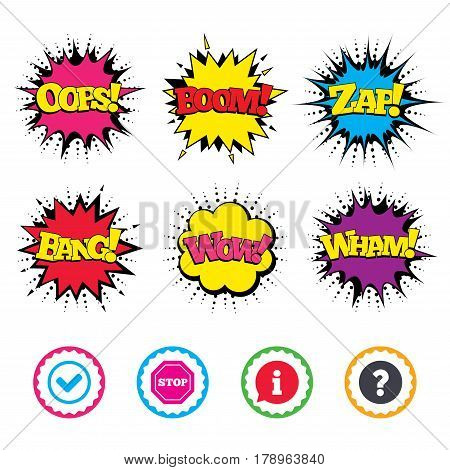 Comic Wow, Oops, Boom and Wham sound effects. Information icons. Stop prohibition and question FAQ mark signs. Approved check mark symbol. Zap speech bubbles in pop art. Vector