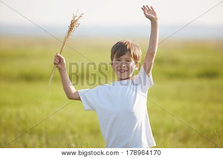 smiling boy in the field at sunny summer morning. boy in white t-shirt stands with hands up. The family travels, the children happily ran around the field