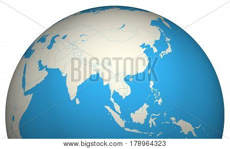 Globe 3D Asia map world destinations geography locations