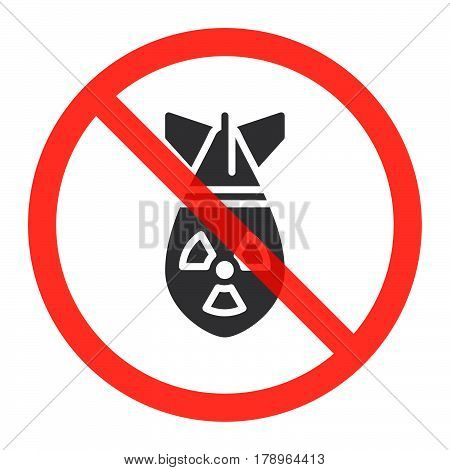 Atomic bomb icon in prohibition red circle No nuclear weapon ban sign forbidden symbol. Vector illustration isolated on white