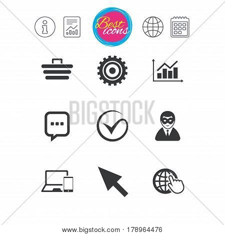 Information, report and calendar signs. Internet, seo icons. Tick, online shopping and chart signs. Anonymous user, mobile devices and chat symbols. Classic simple flat web icons. Vector