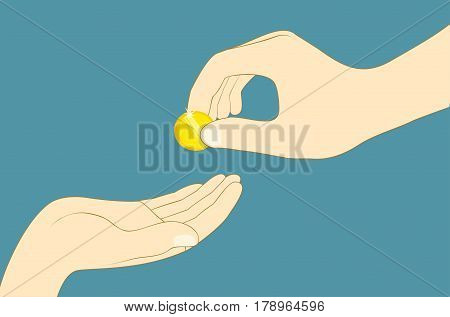 Hand giving money. Charity donation concept. Flat vector illustration