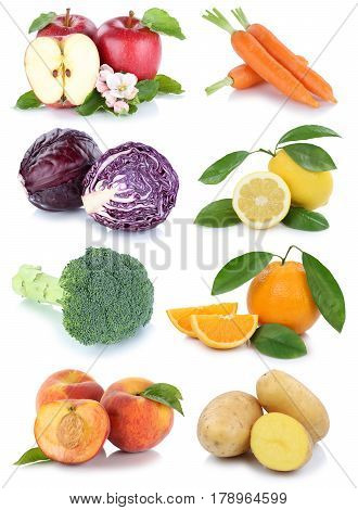 Fruits And Vegetables Collection Isolated Apple Orange Peach Carrots Carrot Fresh Fruit