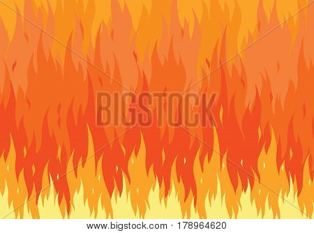 Blazing fire flame background. Flat vector illustration