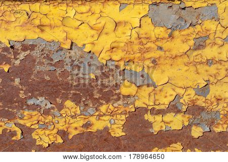 chipped paint, grunge metal surface, which has long been under the influence of different climatic conditions