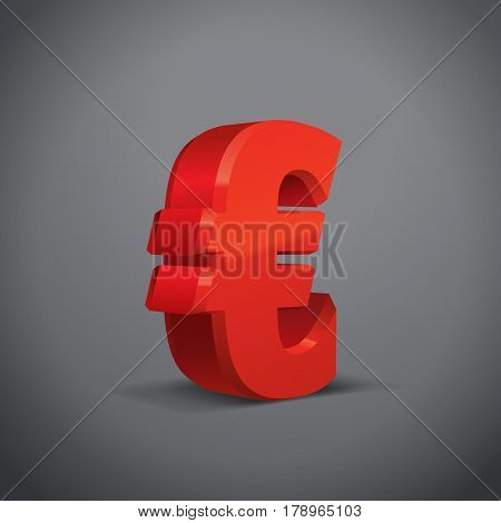 Red 3d Euro Sign. Currency symbol. Vector Illustration. Isolated on Grey Background
