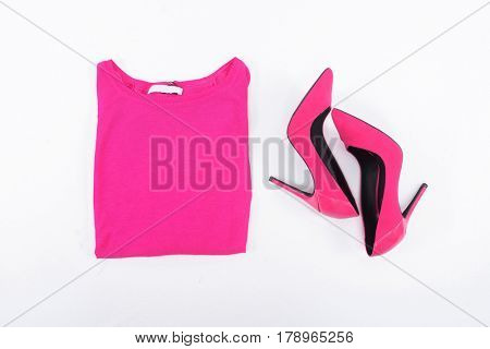 female shoes with pink shirt