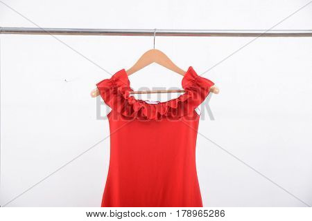 female red dress on hanging