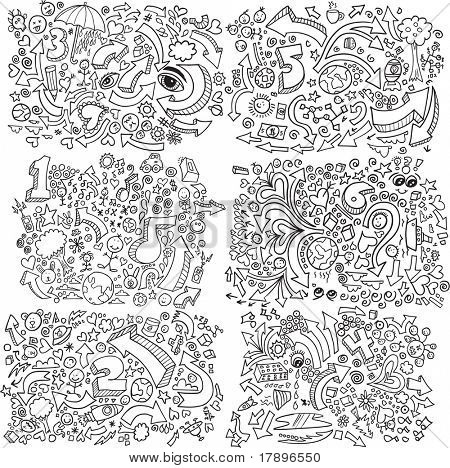 Doodle Sketch Vector Illustration Set