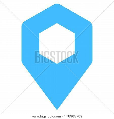 Quick and easy recolorable hexagon shape isolated from background. Flat map pin sign location icon web internet cartography button. Vector illustration a graphic element for design