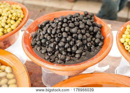 Fine olives at market stall