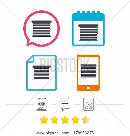 Louvers sign icon. Window blinds or jalousie symbol. Calendar, chat speech bubble and report linear icons. Star vote ranking. Vector