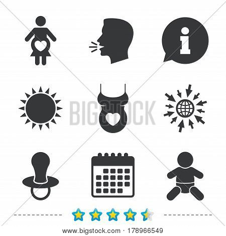 Maternity icons. Baby infant, pregnancy and dummy signs. Child pacifier symbols. Shirt with heart. Information, go to web and calendar icons. Sun and loud speak symbol. Vector