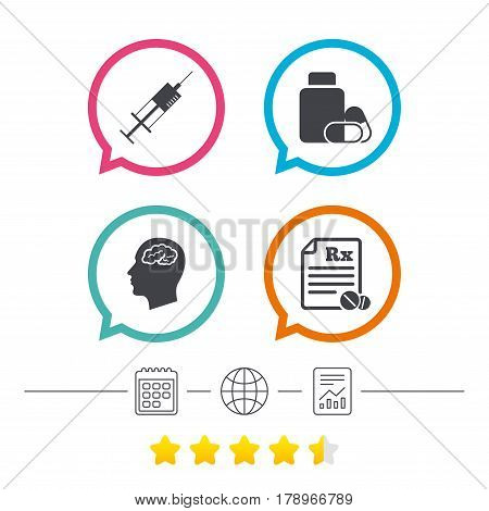 Medicine icons. Medical tablets bottle, head with brain, prescription Rx and syringe signs. Pharmacy or medicine symbol. Calendar, internet globe and report linear icons. Star vote ranking. Vector