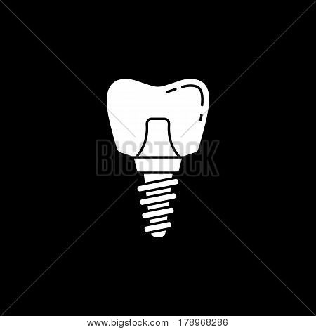 Dental implant solid icon, Dental and medicine, vector graphics, a filled pattern on a black background, eps 10.