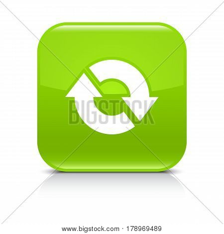 Green icon with white arrow repeat reload refresh rotation sign. Set 04. Rounded square button with gray reflection black shadow on white background. Vector illustration web design in 8 eps