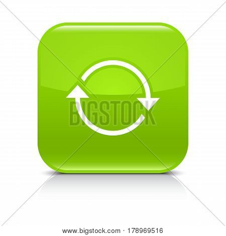 Green icon with white arrow repeat reload refresh rotation sign. Set 01. Rounded square button with gray reflection black shadow on white background. Vector illustration web design in 8 eps