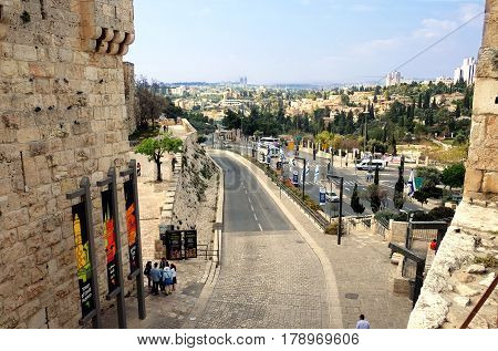 JERUSALEM ISRAEL - MARCH 25 2017: View of Jerusalem from the Jaffa Gate of the Old City