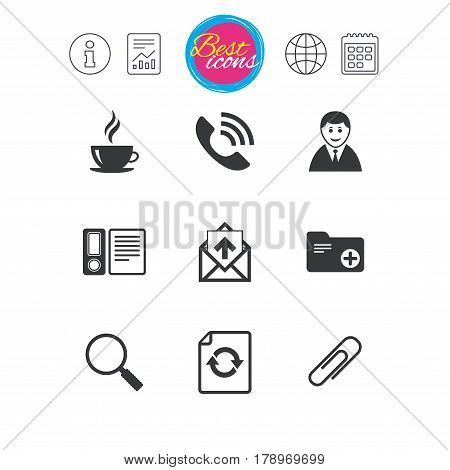 Information, report and calendar signs. Office, documents and business icons. Coffee, phone call and businessman signs. Safety pin, magnifier and mail symbols. Classic simple flat web icons. Vector