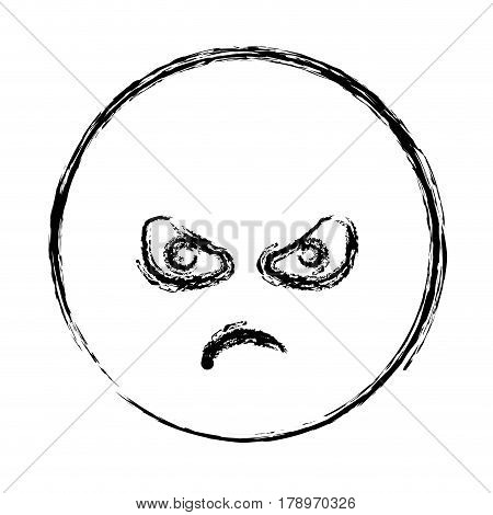blurred silhouette emoticon furious face vector illustration