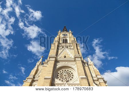 The Name of Mary Church also known as Novi Sad catholic cathedral during a sunny spring afternoon. This cathedral is one of the most important landmarks of Novi Sad Serbia
