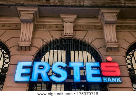 BELGRADE SERBIA - MARCH 29 2017: Logo of Erste Bank at night on its Serbian Headquarters in Belgrade
