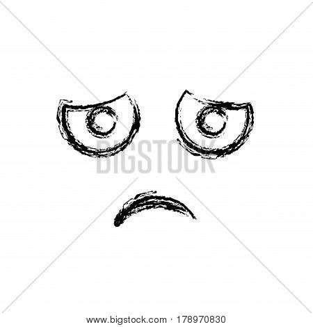 blurred silhouette emoticon dissapointed expression vector illustration