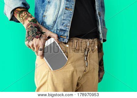 Man Holding Phone Studio Portrait