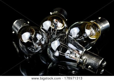 Halogen car lamp isolate on black background