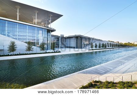 ATHENS GREECE, SEPTEMBER 04 2016: Stavros Niarchos foundation cultural center - the building of National opera Greece. Editorial use.