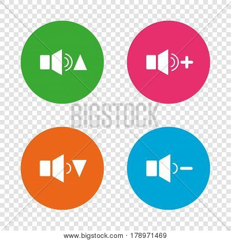 Player control icons. Sound louder and quieter signs. Dynamic symbol. Round buttons on transparent background. Vector